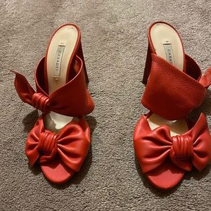 Casadei Tango Red Bow Slide Heel Sandal Size 9